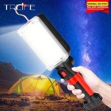Портативный магнитный рабочий светильник 18650 лм, светодиодный рабочий светильник COB, USB Перезаряжаемый фонасветильник для осмотра, рабочая лампа с аккумулятором