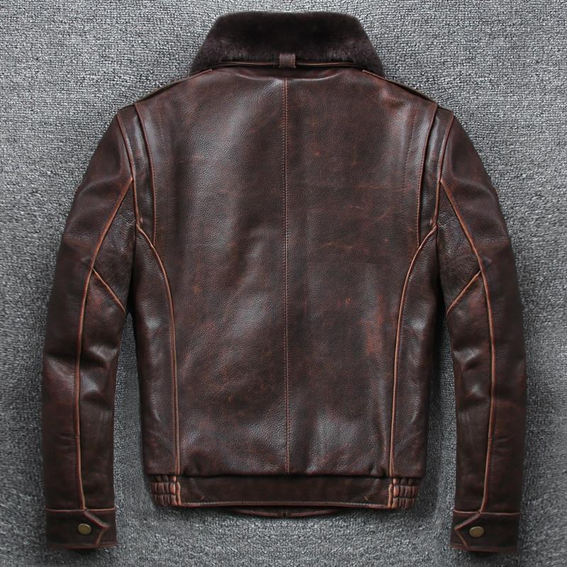 Hc6baa19e504e4dfeb375d5f8cdafff17O 2019 Vintage Men's G1 Air Force Pilot Jackets Genuine Leather Cowhide Jacket Plus Size 5XL Fur Collar Winter Coat for Male