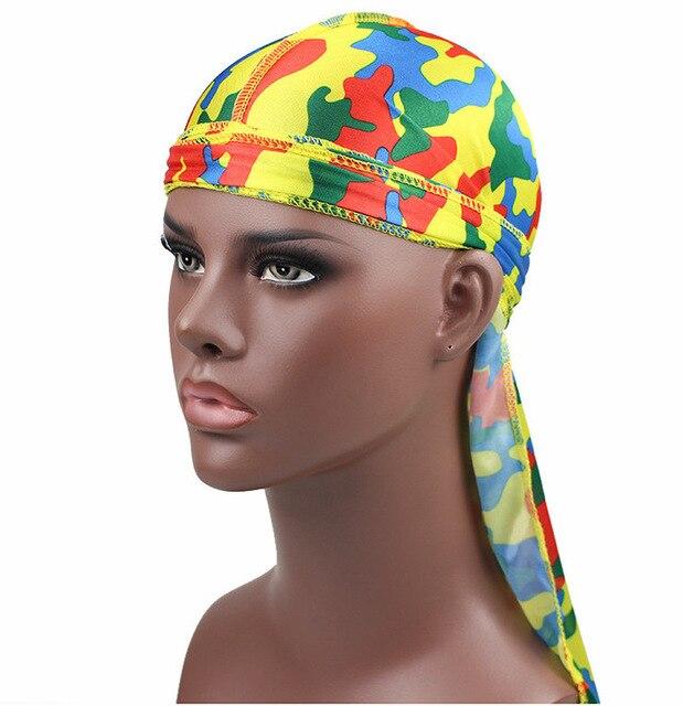 1PC Print Men's Silky Durags Turban Valentines Gift Headband Fashion Camo Free Size Headwear Elastic Comfortable Soft Adjustable 4