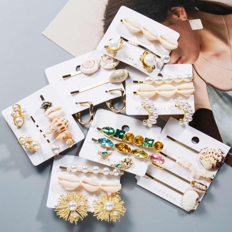 Find Me Fashion Shell Rhinestone Earrings Hairpins Jewelry Set For Women Simple Alloy Imitation Pearl Hair Clips Accessories