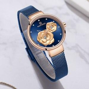 Image 4 - NAVIFORCE الأزرق جلدية ووتش النساء ساعات كوارتز السيدات عالية الجودة للماء ساعة اليد هدية ل زوجة 2019 Relogio Feminino
