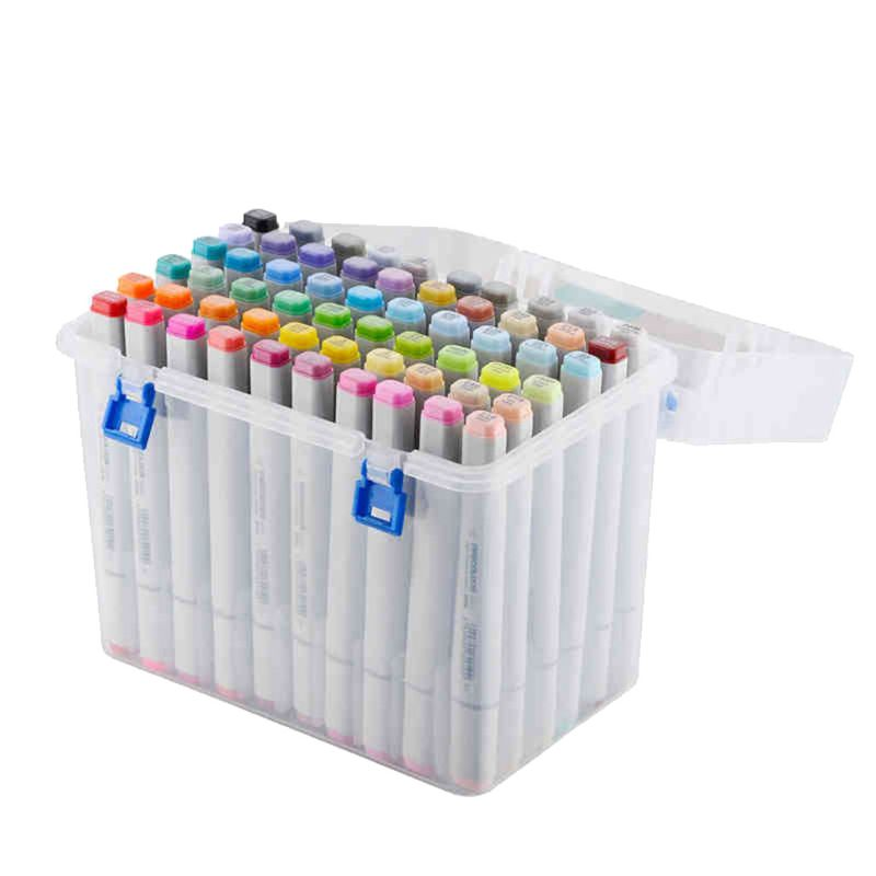 80Slots Plastic Carrying Marker Case Holder For Markers Pen From 15mm-18m Storage Organizer Box For Paint Sketch Markers-Fits
