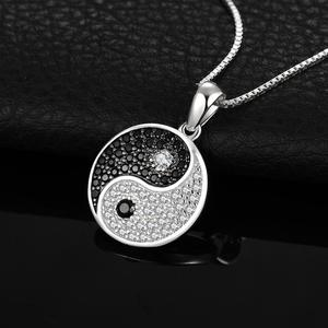 Image 3 - JPalace Taiji Natural Black Spinel Pendant Necklace 925 Sterling Silver Gemstones Choker Statement Necklace Women No Chain
