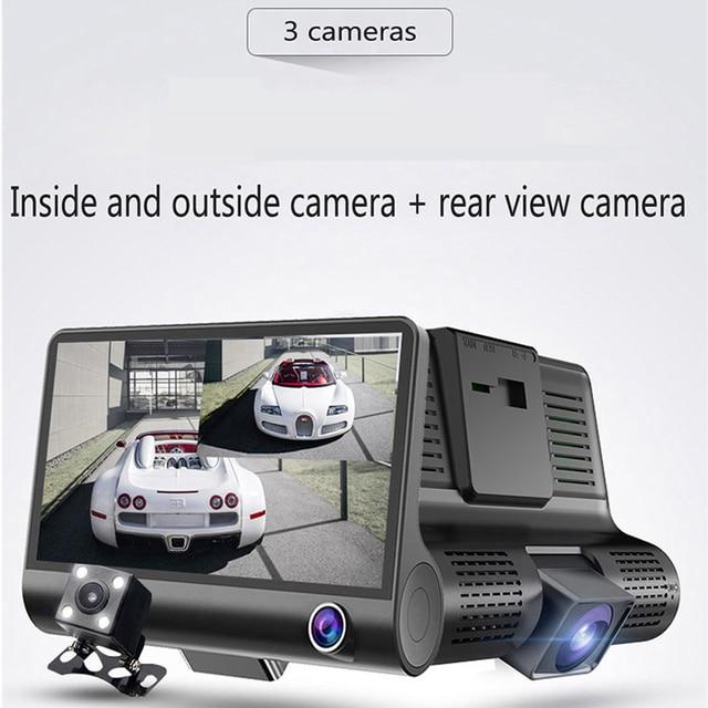 Car dvr 3 cameras full hd 1080p dual lens car dvr camera 4.0 inch lcd screen with 170 degree rear view