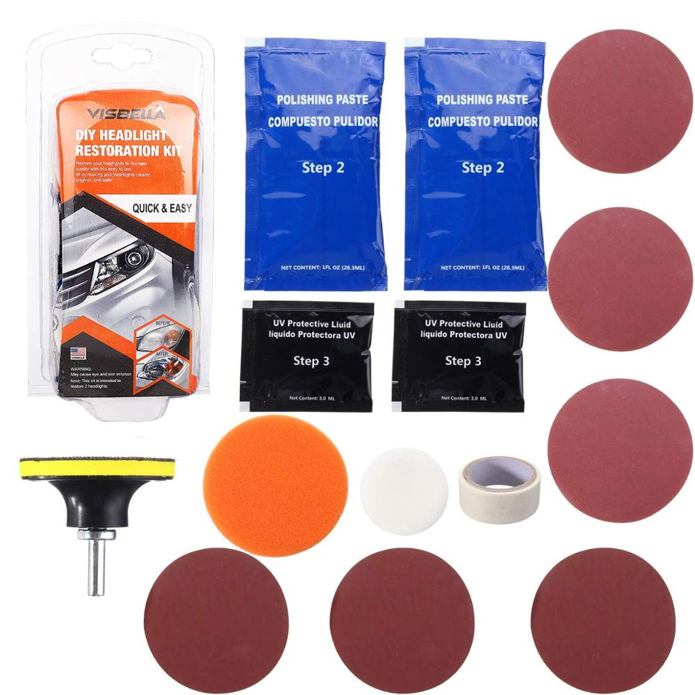 Headlight Headlamp Restoration Kit Repairs Dull Headlight Lenses Restorer Suitable For Cars Bikes Motorcycles