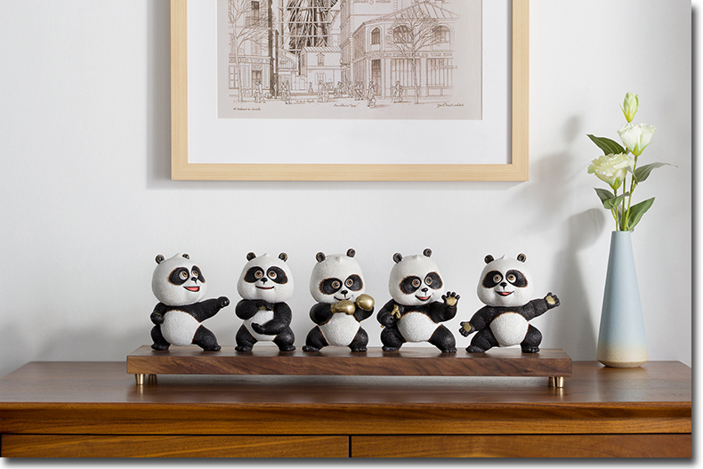 Large # Limited Edition 2020 TOP Collection National Foreign Gift  Panda Chinese Gongfu Handwork BRASS ART Mascot HOME Statue