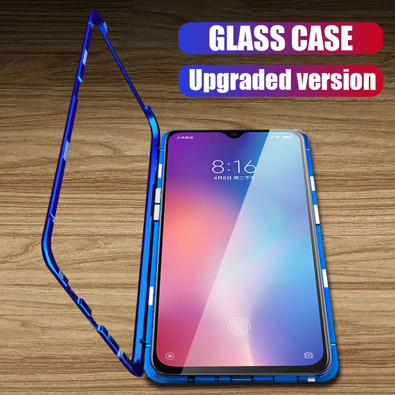 Metal Magnetic Adsorption Case For Redmi Note 7 6 5 Pro 6 6a Glass Case For Xiaomi 9 8 Lite 6X A2 Case Pocophone F1 Cover Case-in Phone Bumpers from Cellphones & Telecommunications