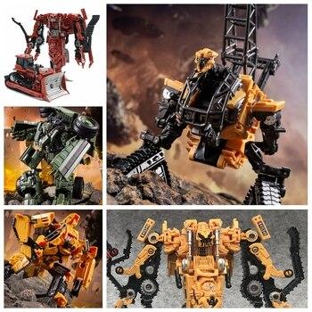 цена на AOYI SS  Transformation Devastator Overload Roaring Rampage Hook  Yellow Bulldozer Action FIgure Robot Toys With Box
