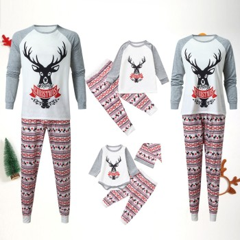 Ropa navideña familiar, conjunto de pijamas de manga larga con letras impresas + Pantalones, ropa navideña familiar, Conjunto de pijama, navidad familia