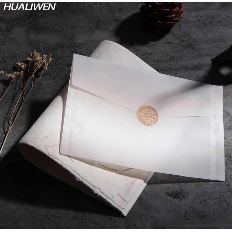 20 шт./лот прозрачный конверт на заказ, набор конвертов из полупрозрачной бумаги с надписью, винтажные конверты для свадебных приглашений дл...