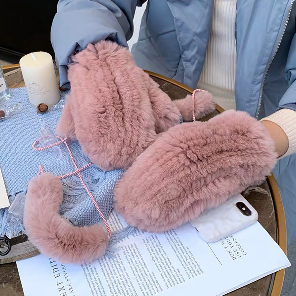 Women's Winter Real Rex Rabbit Fur Gloves Warm Thick Ladies Fur Mittens Elastic Girls Ski Glove Mitts Elastic Soft With String