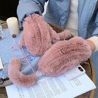 Women's Winter Real Rex Rabbit Fur Gloves Warm Thick Ladies Fur Mittens Elastic Girls Ski Glove Mitts Elastic Soft With String