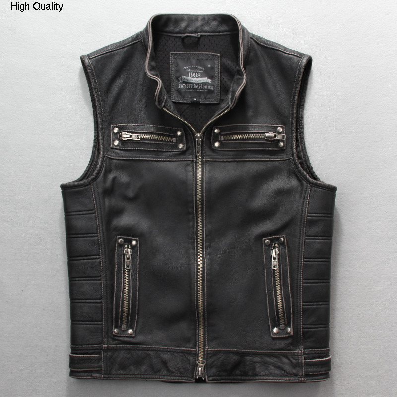 Men's Rivet Motorcycle Leather Jacket With Sleeveless Vintage Slim Fit Genuine Leather Vest Men Pocket Biker Jacket For Male