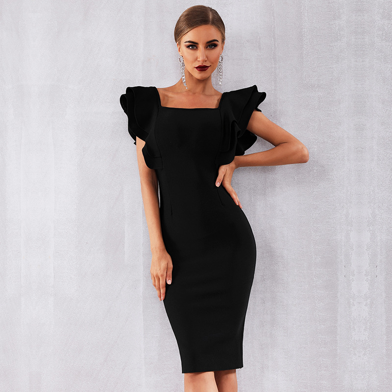 Black   Cocktail     Dresses   Sexy Sheath Short Sleeves Square Neck Formal Lady Gown With Stretch Knee Length Homecoming   Dress   Fashion