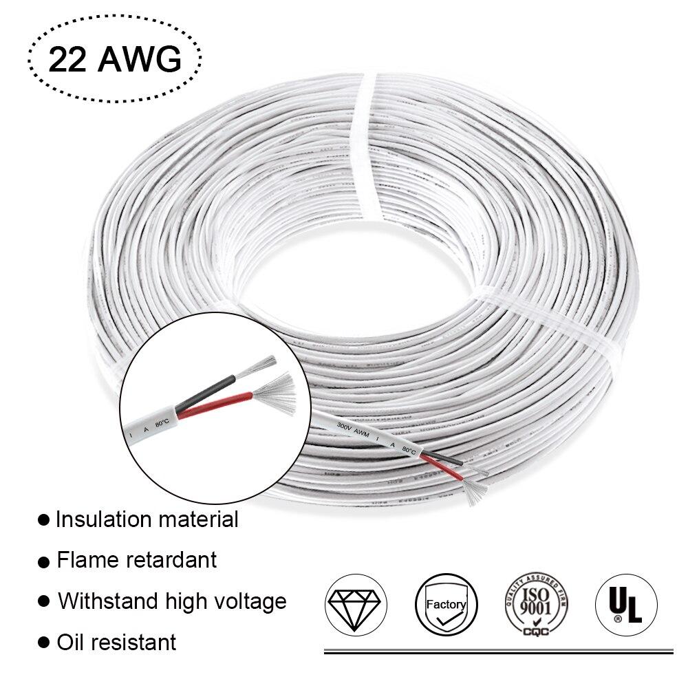 AWG22 2Pin 3A Номинальный Электрический кабель провод изолированный белый кожух светодиодные удлинительные шнуры для электроники