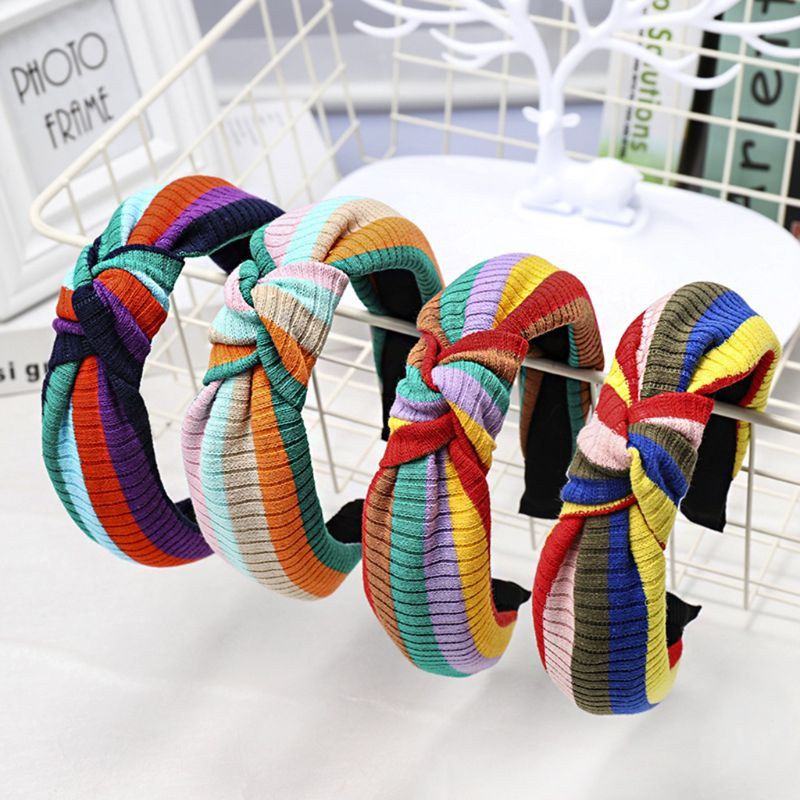 Korean Rainbow Stripes Wide Headband Women Girls Makeup Wash Face Hair Hoop Twist Bowknot Ribbed Knitted Styling Sweet Headpiece in Women 39 s Hair Accessories from Apparel Accessories