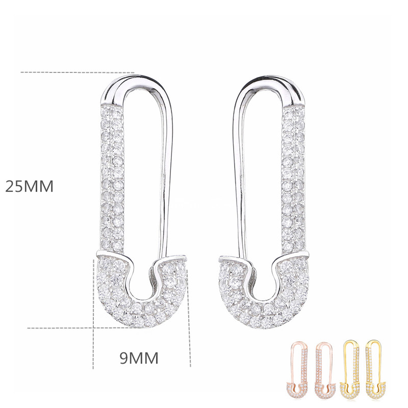 Slovecabin Micro Pave Safety Pins Pulse Ear Cuff Single Earring 925 Sterling Silver With CZ Original Design 2019 Simple Jewelry