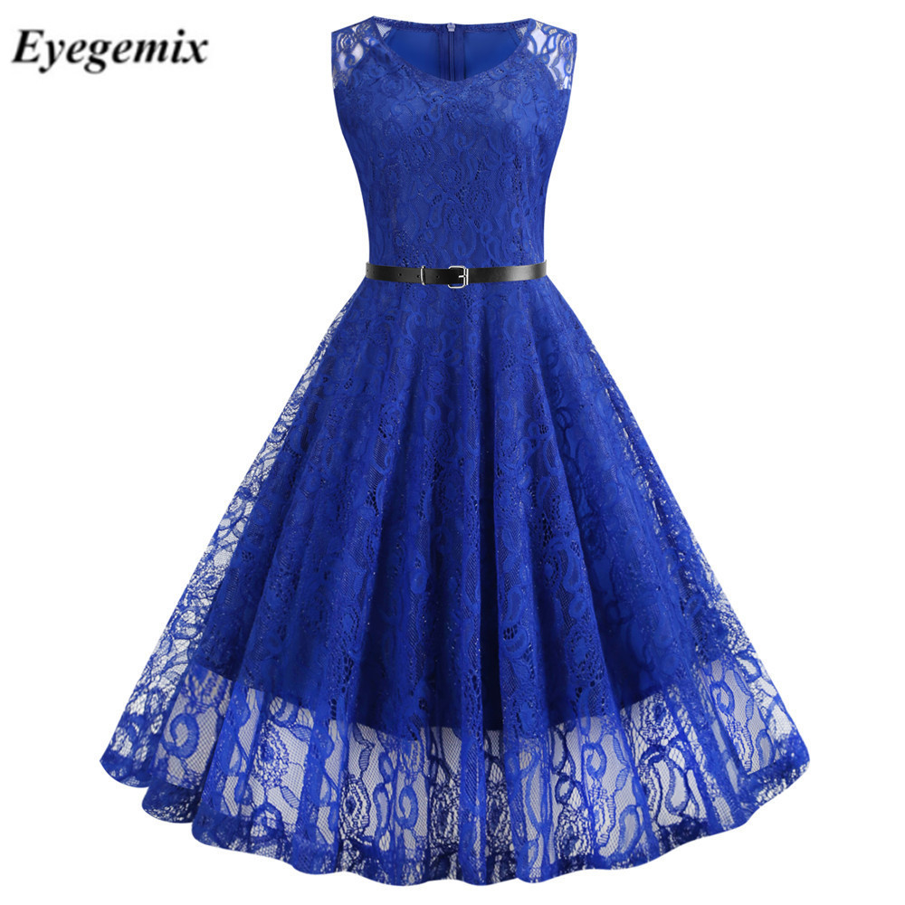 Vintage Black Floral Lace Tunic Dress Women Sleeveless V-Neck Elegant Party Sexy Dresses Retro 50s Summer Robe Big Swing Dress 4