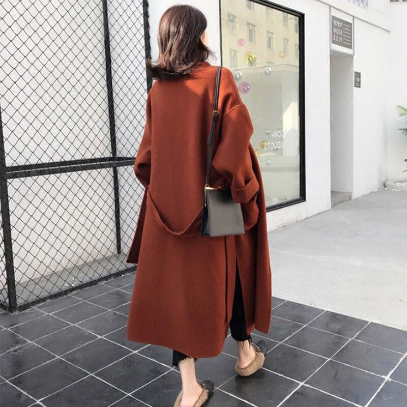 Liva girl Long Coat Winter Coat Women Belted Solid Coat Women's Jacket Women's 5 Colors Coat wool Coat 5