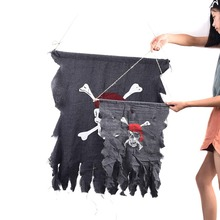 Shabby Pirate Skull And Crossbones Flag Halloween Party Haunted House Hanging Decorative Terrify Props