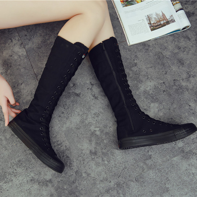 2019 New Spring autumn Women Shoes Canvas Casual High Top Shoes Long Boots Lace Up Zipper Comfortable Flat boots sneakers in Over the Knee Boots from Shoes