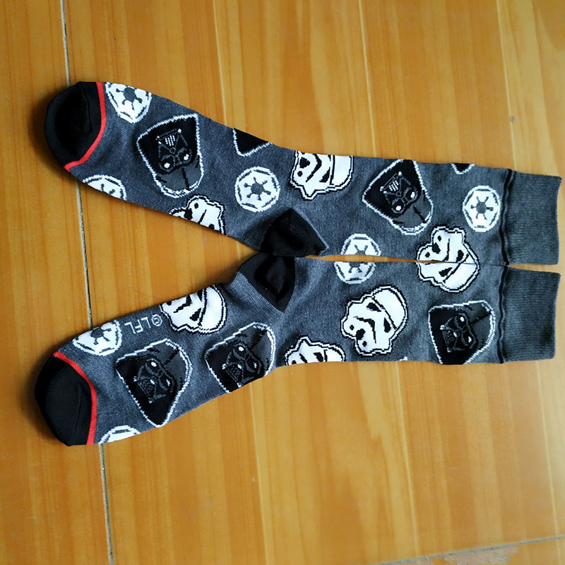 Star Wars Cosplay Socks Men Jedi Knight Storm Troops Funny Cartoon Printed Men's Socks Personality Black Cotton Men Socks Dress
