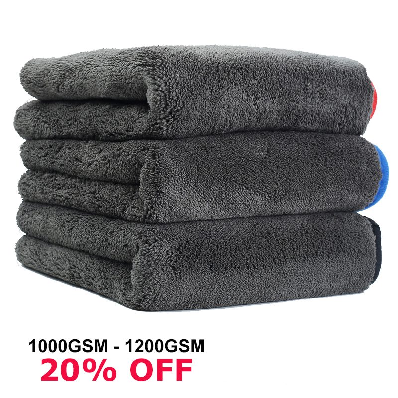 1200GSM Car Care Towels Washing Towel 1200 GSM Microfiber Hemming Washing Drying Detailing Towel Strong Thick Car Cleaning Cloth