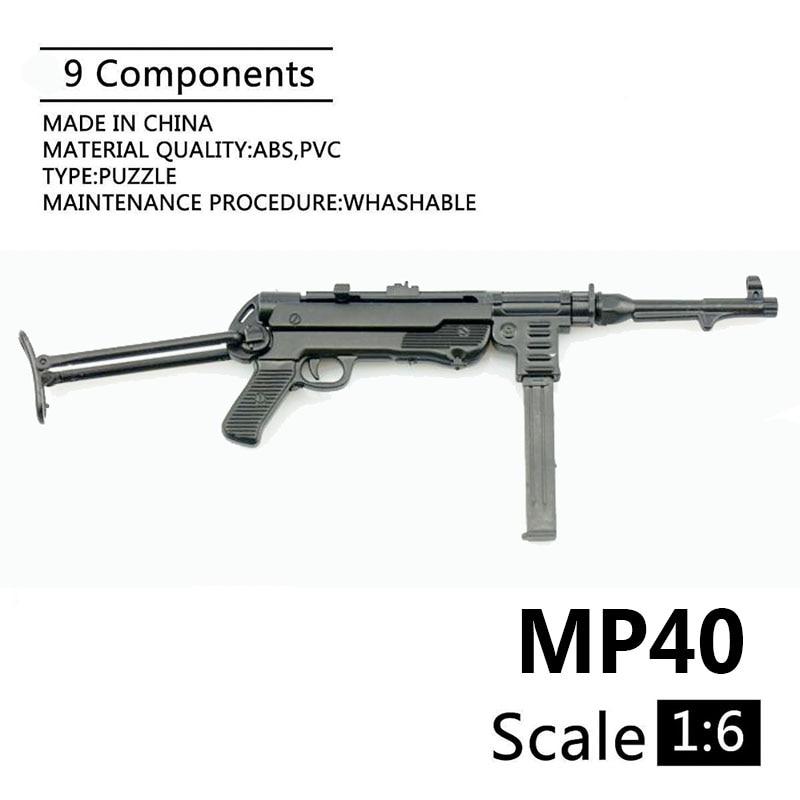 1:6 MP40 Submachine Gun World War II Plastic Assembled Firearm Puzzle Model For 12