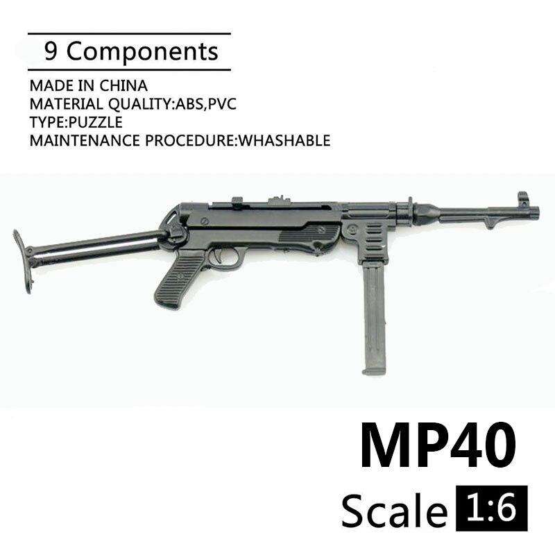 """1:6 MP40 пистолет-пулемет для второй мировой войны, пластиковая Сборная модель паззла с огнестрельным оружием для 12 """"солдат, военное оружие, строительные блоки"""