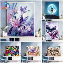 Peinture acrylique par numéros pour adultes, animaux, papillon, Art mural moderne, toile, peinture acrylique par numéros pour décoration de maison, cadeau Unique