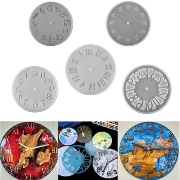 5Style Classic Clock Silicone Molds Arabic Numeral UV Epoxy Resin Mold for DIY Handmade Carfts Home Decoration Accessories