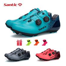 Santic Racing obuwie rowerowe MTB szosowe buty rowerowe Ultralight antypoślizgowe Mountain Bike oddychające samoblokujące buty z włókna węglowego tanie tanio Dla dorosłych Syntetyczny Średnie (b m) Lace-up MS19003 Pasuje prawda na wymiar weź swój normalny rozmiar TAKE EURO SIZE USUALLY