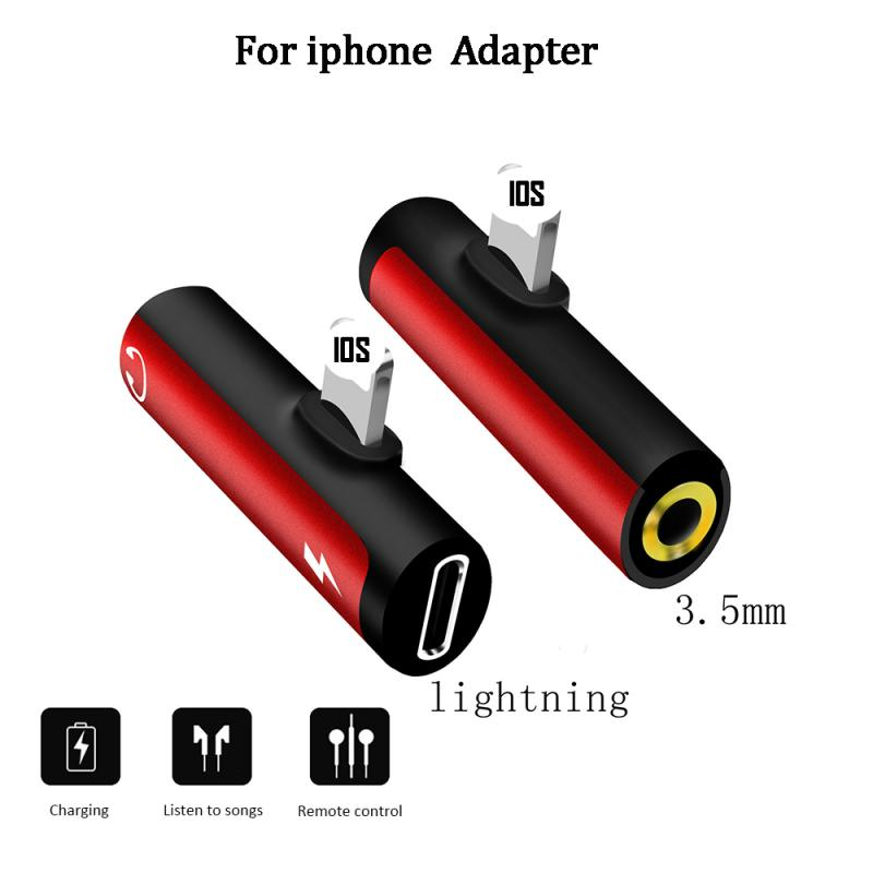 For Lightning Adapter For IPhone 7 X 8 Plus Adaptador IPhone OTG 2 In 1 Dual Ports Headphone Adapter Charger Audio Splitter