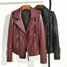 Jacket Genuine-Leather Ladies Coat Motorcycle Real-Sheepskin Women Casual Autumn Winter