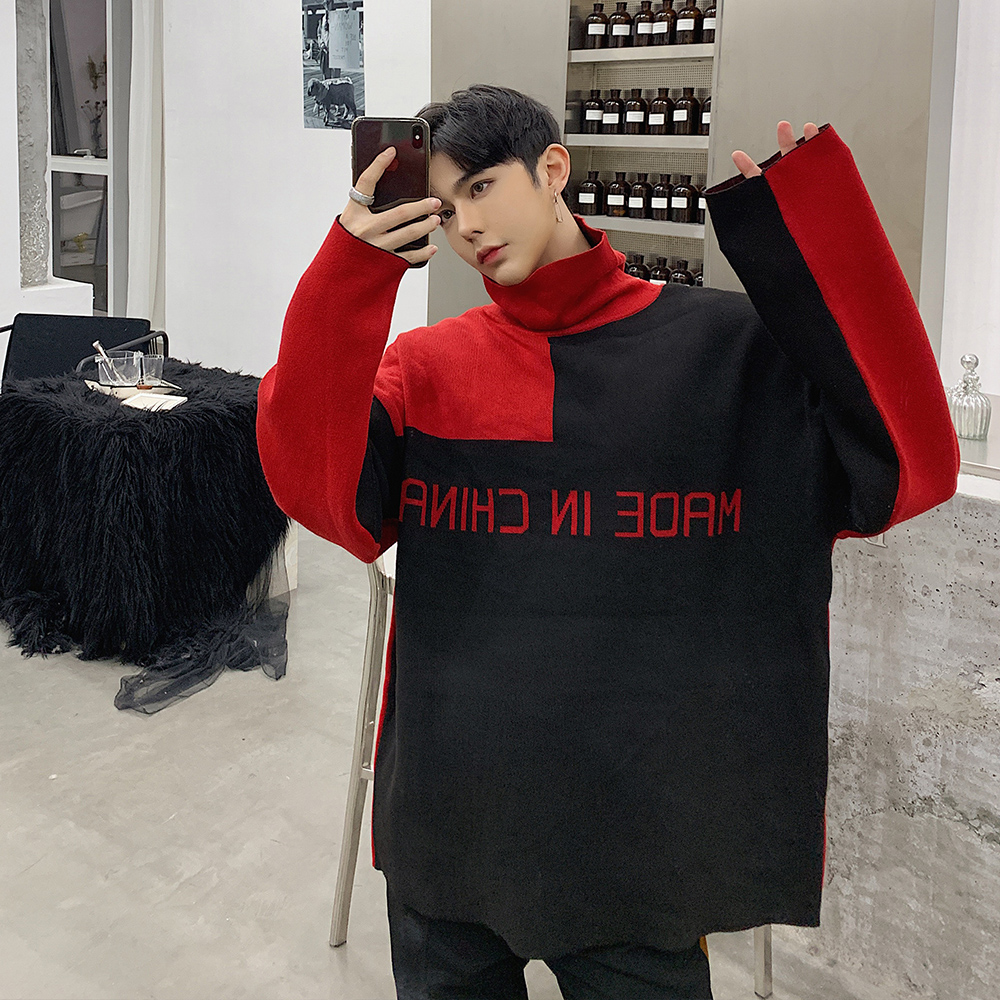 Fashion Men Sweater Patchwork Long Sleeve Knitted Pullovers Double-sided Oversize Turtleneck Streetwear Casual Winter Clothing