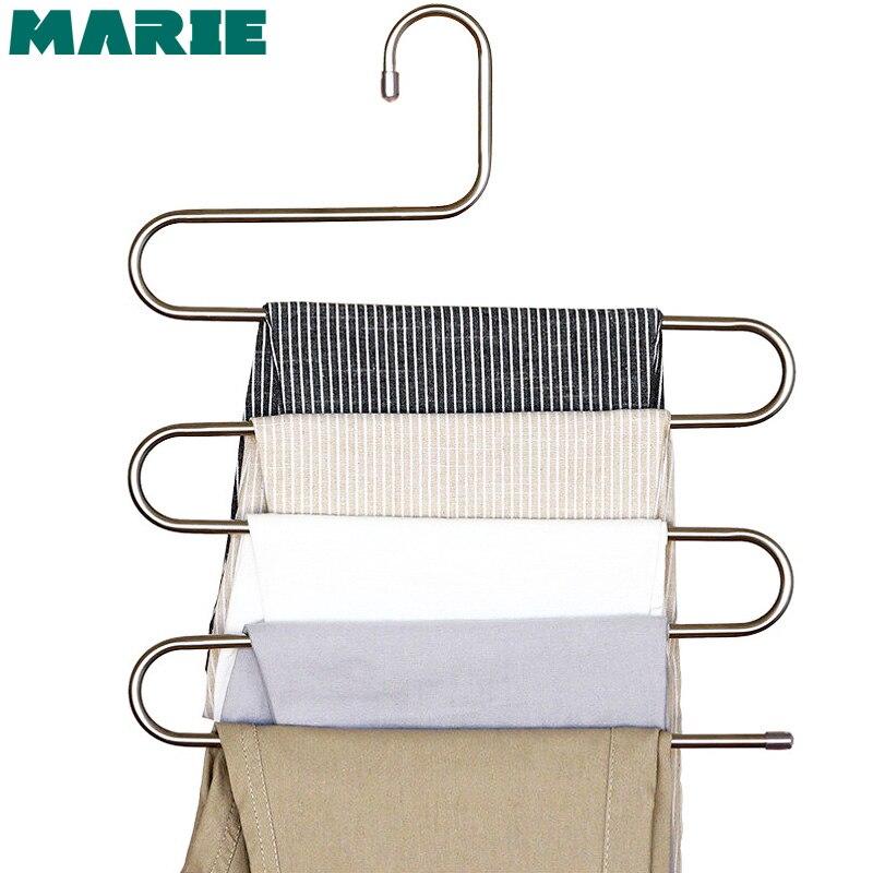 Pantalon pantalon suspendu cintre acier inoxydable 5 couches vêtements rangement gain de place soigné Rack s-type outils
