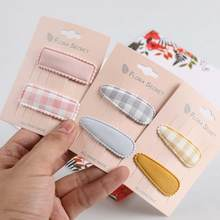 1 par coreano novo simples tecido xadrez das crianças bb clip barrette menina princesa moda colorido hairpins headwear