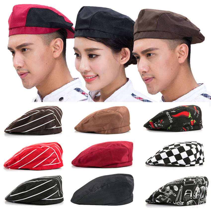9Color Chef Hat Food Service Work Wear Uniform Kitchen Restaurant Cloth Cap Elastic Chili Print Berets Cook Chef's Hats 54-56CM