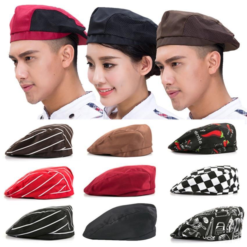 9Color Chef Hat Food Service Work Wear Uniform Kitchen Restaurant Cloth Cap Elastic Chili Print Berets Cook Chef's Hats 54-56CM