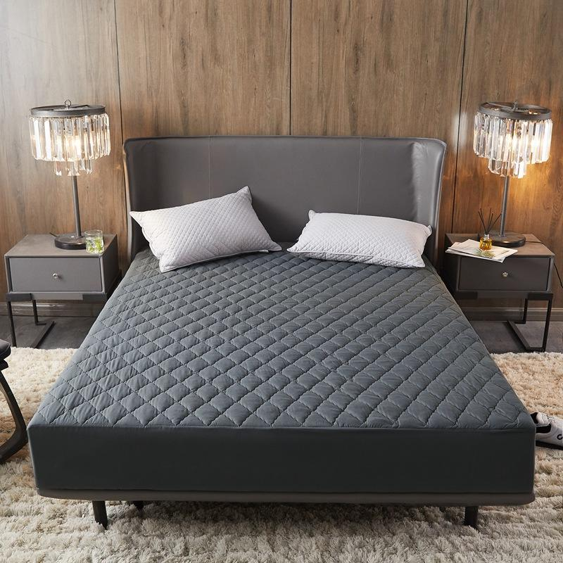 Waterproof Mattress Protector Dark Gray Color Quilted Filling Fitted Bed Sheet Single Bed Linen Double Size Mattress Cover