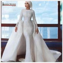 Yeni tasarımcı müslüman gelin elbise düğün elbisesi 2020