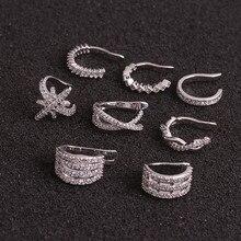 U-Shaped Ear Clip Helix Cartilage Conch Fake Piercing Jewelry Adjustable CZ Ear