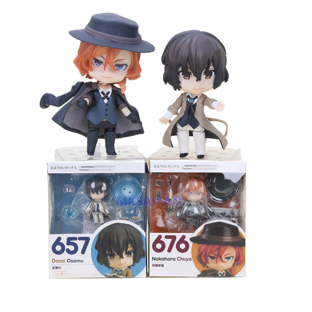 Action Figures Bungo Stray Dogs Dazai Osamu #657 Nakahara Chuuya #676 Nendoroid Anime Figura Model Cute Toys PVC Xmas Gift Figma