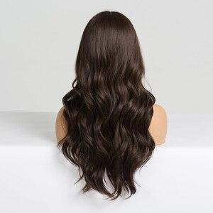 Image 2 - Easihairロングダークブラウンの女性のかつら前髪と水波耐熱合成かつら黒人女性のためのアフリカ系アメリカ人髪