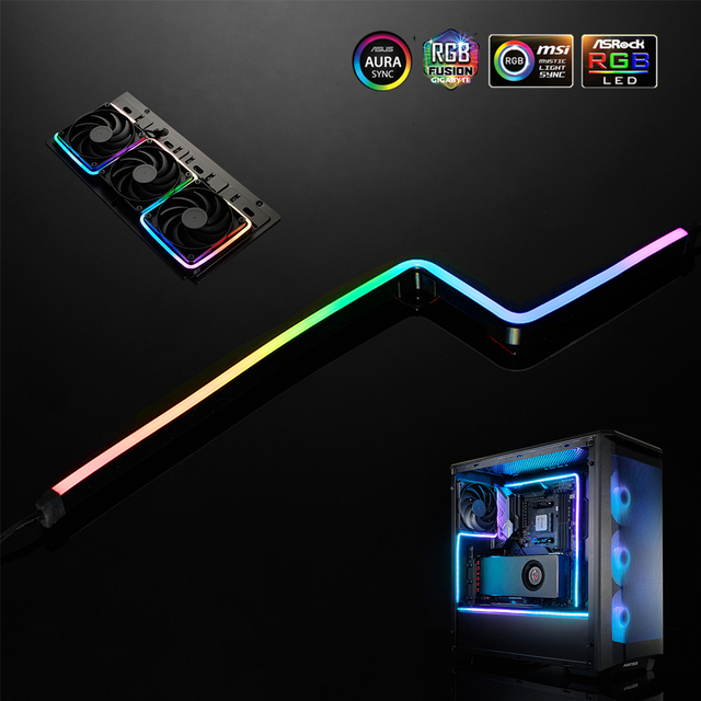 PHANTEKS ARGB Light Strip DIY Shape Decoration LED Strip 5V3Pin AURA 40/55/100CM Water Cooler Custom Lighting MOD Adjustable LED