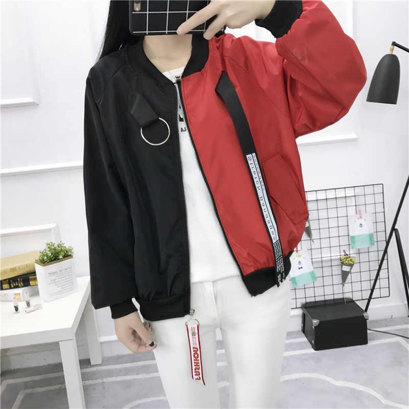 Insgoth Harajuku Partchwork Casual Vrouwen Jassen Streetwear Mode Vrouwelijke Uitloper Punk Losse Basic Jassen Lady Herfst Jassen