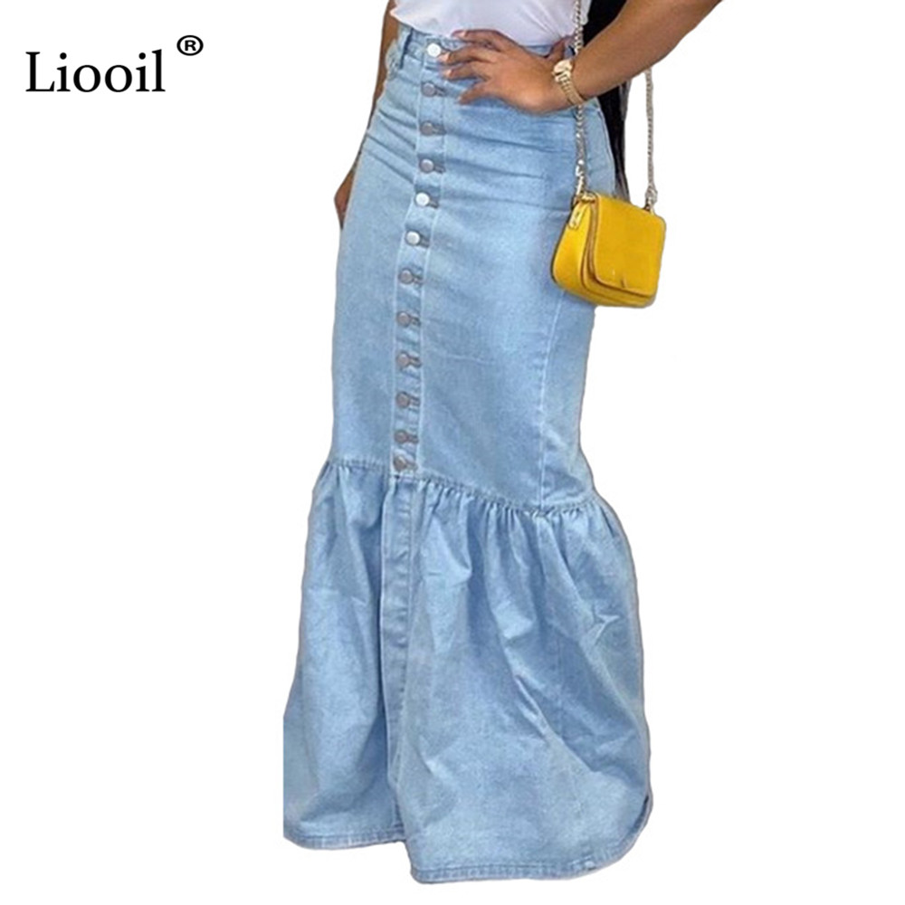 Liooil Blue Denim Sexy Bud Long Skirt Women Clothing 2019 Fall Winter Streetwear Button Up Bodycon High Waist Maxi Skirts Womens