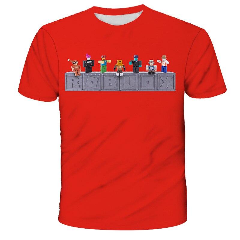 Летние Robloxing, детский пуловер с круглым вырезом игра 3D печати Повседневная футболка для маленьких мальчиков с героями мультфильмов; Спортив...