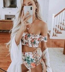Drukowanie Shirred Bikini Set Bandeau kobiety Bikini Set Sexy bez ramiączek wyściełany strój kąpielowy lato wysokie nogi plaża strój kąpielowy 1