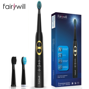 Fairywill Electric Toothbrush FW-917 USB Charge Rechargeable Adult Waterproof Ultra Sonic Toothbrush Replacement 3 Heads Gift couple toothbrush usb sonic electric toothbrush ultra sonic toothbrush rechargeable charging with 4 heads pink blue black color